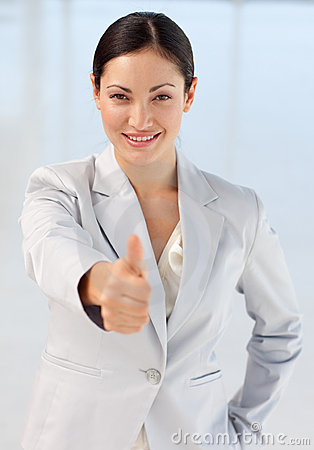 Confident busineswoman being positive