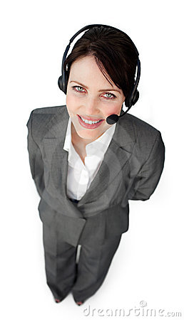 Confident customer service agent using a headset