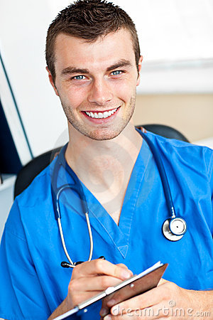 Confident doctor with clipboard and stethoscope