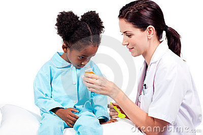 Confident doctor giving medicine to her patient