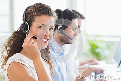 Confident female call center agent
