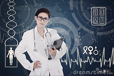Confident female doctor on digital background