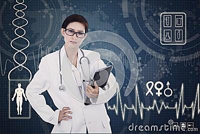 Confident female doctor on digital background