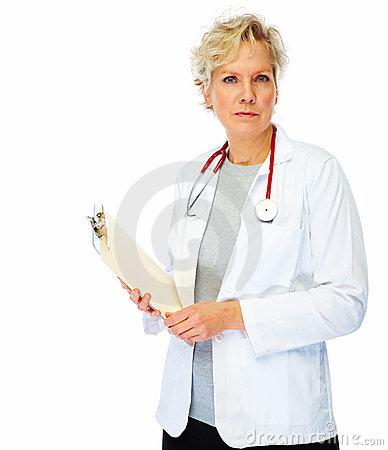 Confident female doctor holding a writing pad