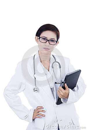 Confident female doctor and touchpad - isolated