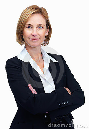 Confident female lawyer over white background