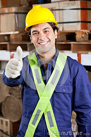 Confident Foreman Gesturing Thumbs Up