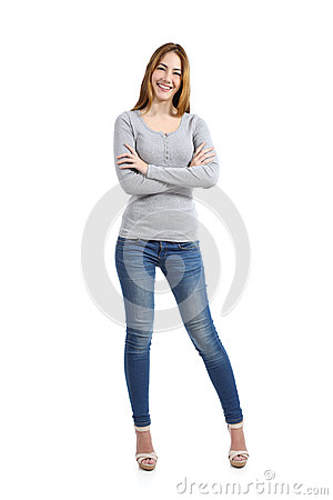 Free Confident Full Body Of A Casual Happy Woman Standing Wearing Jeans Royalty Free Stock Photos - 37963228