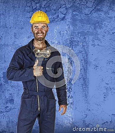 Confident labourer standing