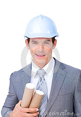 Confident male architect