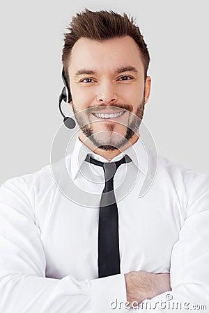 Confident male operator.