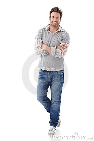 Free Confident Man In Jeans Smiling Royalty Free Stock Images - 22194099