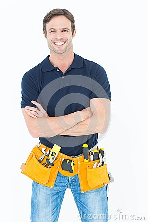 Free Confident Man With Tool Belt Around Waist Over White Background Royalty Free Stock Photo - 49244925