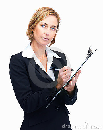 Confident mature female entrepreneur taking notes