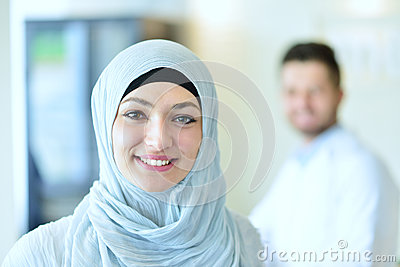 Confident Muslim medical student pose at hospital Stock Photo