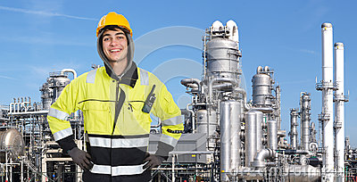 Confident petrochemical engineer Stock Photo