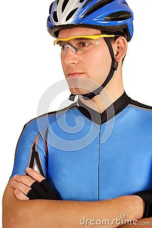 Confident pro cyclist