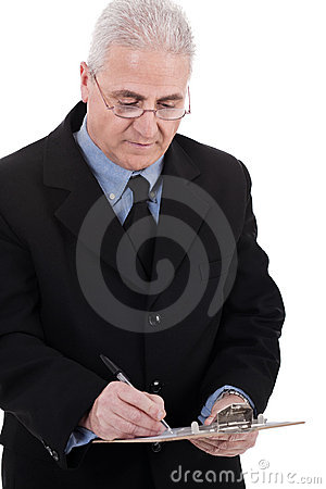 Confident senior business man writing on