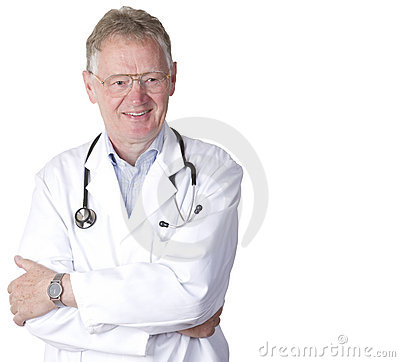 Confident senior doctor isolated on white
