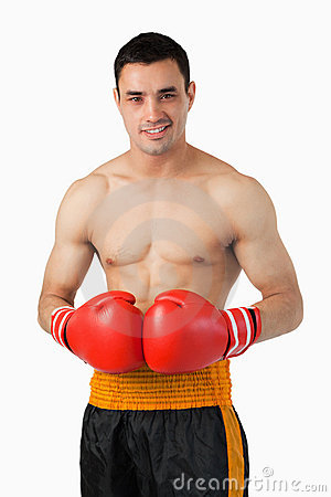 Confident smiling boxer