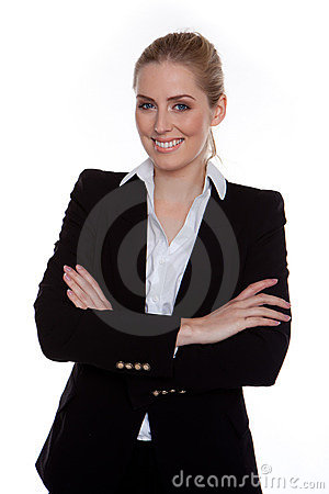 Free Confident Smiling Businesswoman Arms Crossed Stock Photography - 22174182