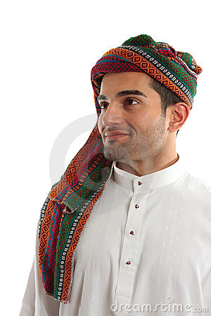Confident, smiling ethnic arab man