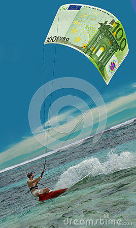 Surfing man & Euro as kite, sail