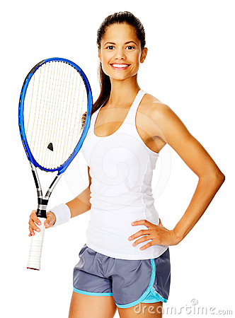 Confident tennis woman
