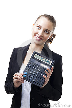 Confident woman hold calculator