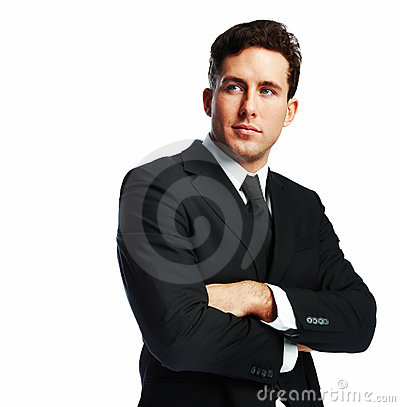 Confident young business man with his hands folded
