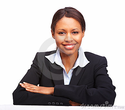Confident young business woman in a suit