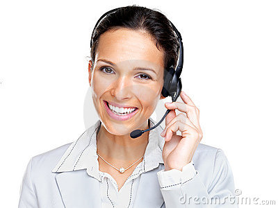 Confident young female customer service agent