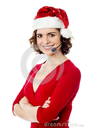 Confident young female santa
