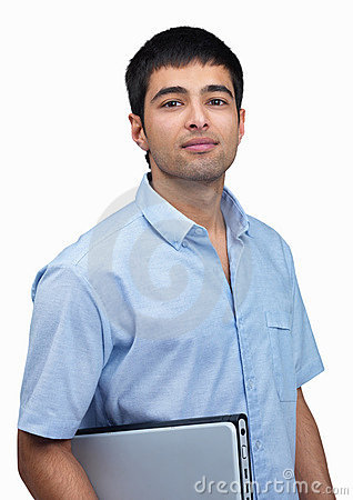 Confident young man holding a laptop over white