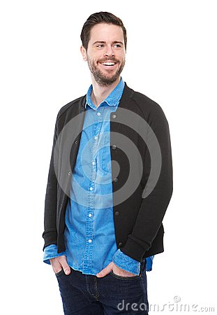 Confident young man smiling on isolated white background