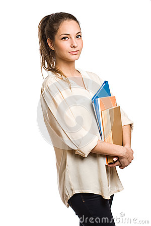 Confident young student woman.
