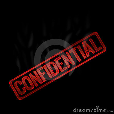 Confidential red and smoke text