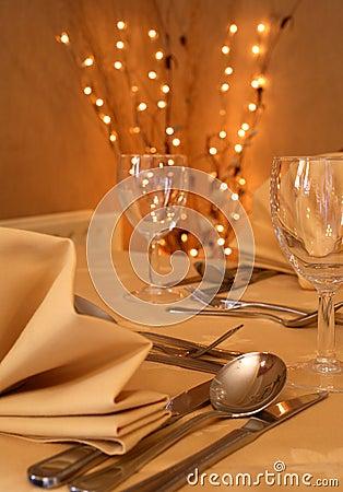 Configuración de cena fina de la cena