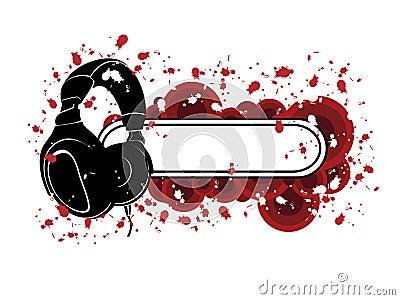 Configuration grunge d écouteurs