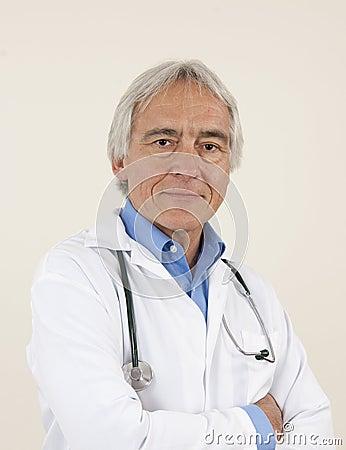 Confindent senior male doctor