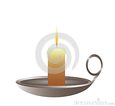 Conflagrant candle is in a candlestick