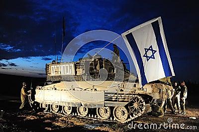 Conflicto armado del israelí Foto editorial