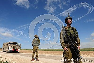 Conflito armado do israelita Fotografia Editorial