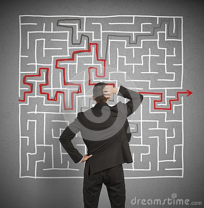 Free Confused Business Man Seeks A Solution To The Labyrinth Royalty Free Stock Photos - 32591588