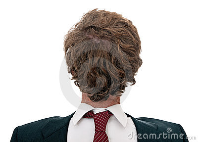 Confused businessman back to front, over white