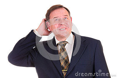 Confused businessman with gesture