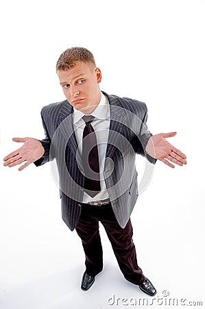 Confused businessman looking sideways