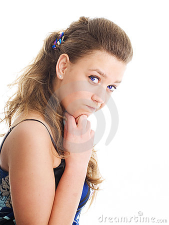 Confused girl in summer dress over white