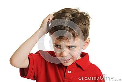 Confused little boy portrait