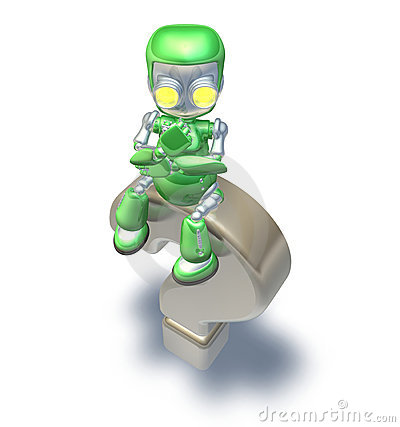 Confused Question Mark Cute Green Metal Robot